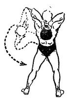 Круговые движения корпусом с гирей за головой