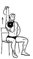 Выжимание гири одной рукой сидя