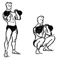 приседания с гирями у плеч